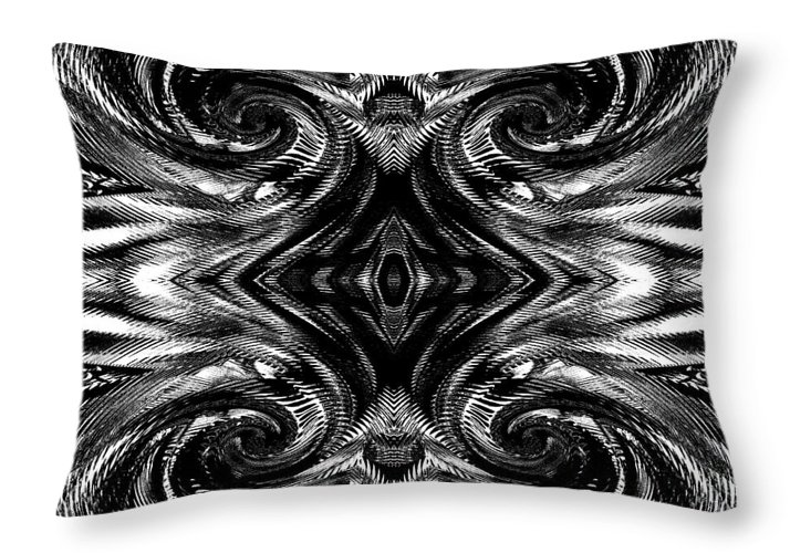 Intense Black And White Stripes Throw Pillow featuring the digital art Eotstorm by Expressionistart studio Priscilla Batzell