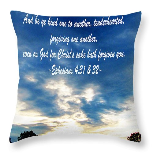 Jesus Christ Throw Pillow featuring the photograph Ephesians Four Thirtyone And Two by Ron Tackett