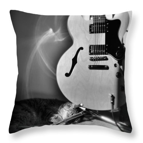 Cat Throw Pillow featuring the photograph Epiphone Cat by Kurt Bonnell