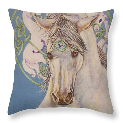 Celtic Throw Pillow featuring the painting Epona The Great Mare by Beth Clark-McDonal