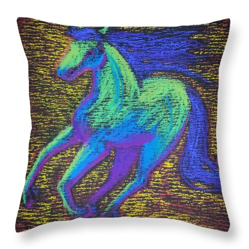 Horse Running Colors Animals Nature Energy Throw Pillow featuring the pastel Equus by Brenda Salamone