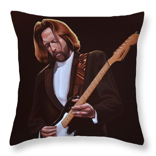 Eric Clapton Throw Pillow featuring the painting Eric Clapton Painting by Paul Meijering