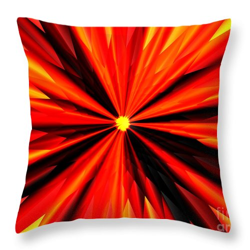 Eruption Throw Pillow featuring the digital art Eruption In Red by Eric Nagel