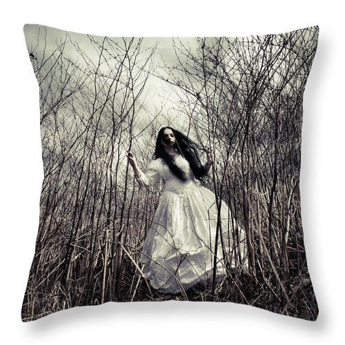 Bride Throw Pillow featuring the photograph Escaping Bride by Cambion Art