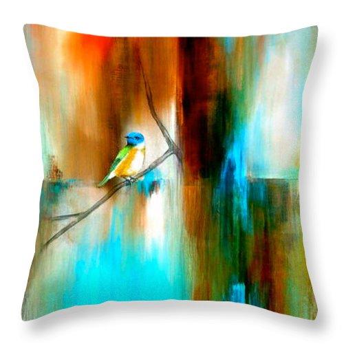 Birds Throw Pillow featuring the painting Esperando Verte by Thelma Zambrano