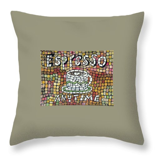 Mosaic Throw Pillow featuring the painting Espresso by Cynthia Amaral