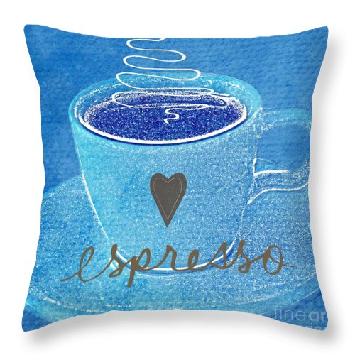 Espresso Throw Pillow featuring the painting Espresso by Linda Woods
