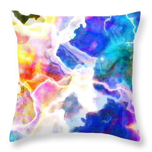 Abstract Art Throw Pillow featuring the mixed media Essence - Abstract Art by Jaison Cianelli