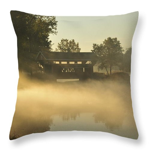 Covered Bridge Throw Pillow featuring the photograph Essenhaus Covered Bridge by David Arment