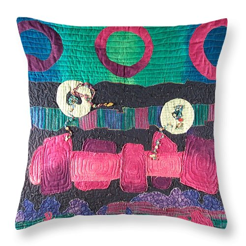 Wallhanging Throw Pillow featuring the tapestry - textile Essential Circles by MtnWoman Silver