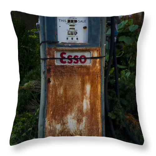 Esso Throw Pillow featuring the photograph Esso Gas Pump by Bill Cannon