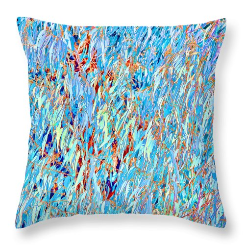 Eucalyptus Throw Pillow featuring the photograph Eucalyptus In Blue by Angela Stanton