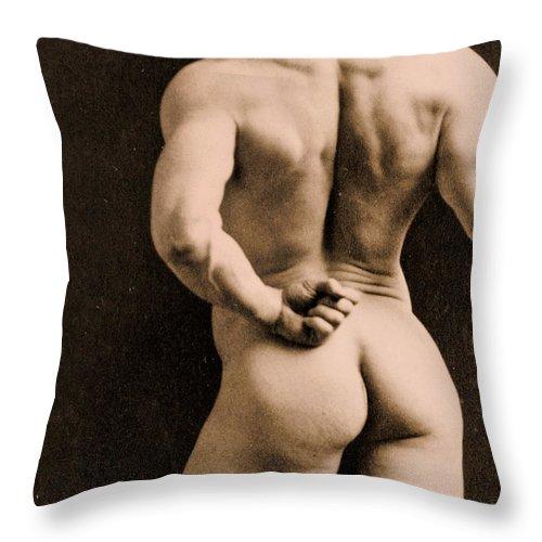 Rear Throw Pillow featuring the photograph Eugen Sandow by Napoleon Sarony