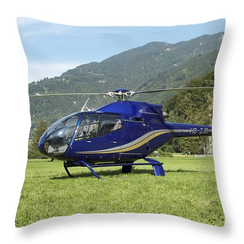 No People Throw Pillow featuring the photograph Eurocopter Ec130 Light Utility by Luca Nicolotti