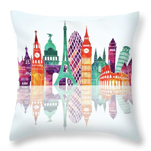 People Throw Pillow featuring the digital art Europe Skyline Detailed Silhouette by Katerina andronchik