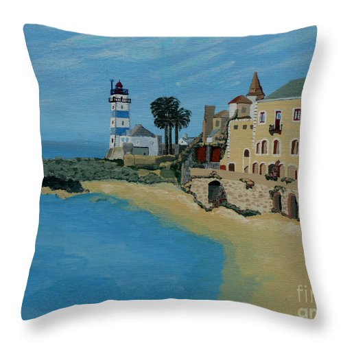 Lighthouse Throw Pillow featuring the painting European Lighthouse by Anthony Dunphy