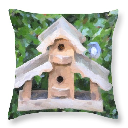 Oregon City Throw Pillow featuring the photograph Evans's Birdhouse - Oil Paint by Image Takers Photography LLC - Carol Haddon