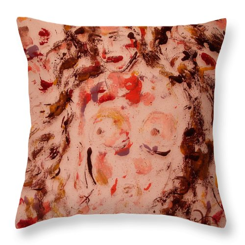Nude Throw Pillow featuring the painting EVE by Natalie Holland