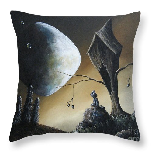 Cats Throw Pillow featuring the painting Even Cats Have Strange Dreams by Shawna Erback by Fairy and Fairytale