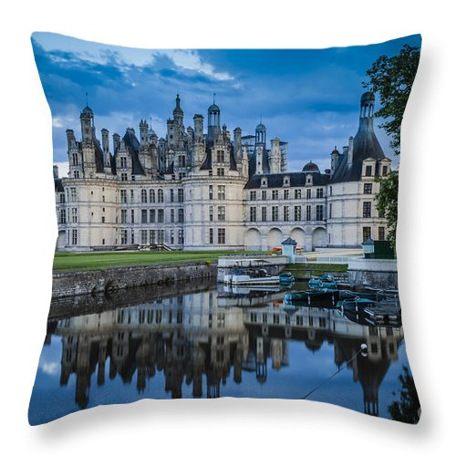 Architectural Throw Pillow featuring the photograph Evening At Chateau Chambord by Brian Jannsen