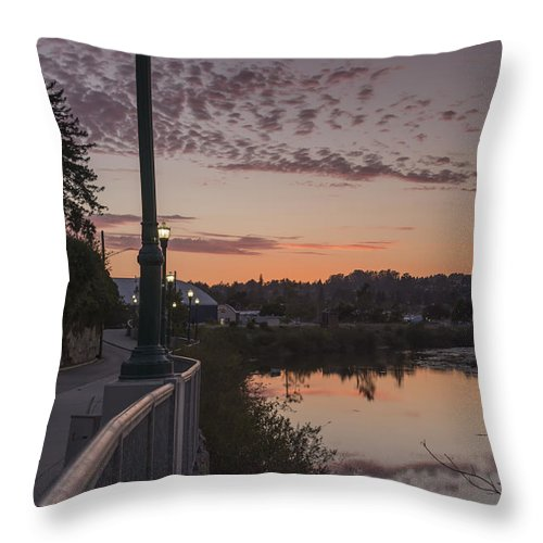 Sunset Throw Pillow featuring the photograph Evening By The River by Bruce Frye