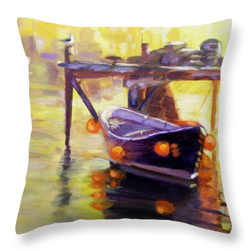 Boat Throw Pillow featuring the painting Evening Gold by Elena Sokolova