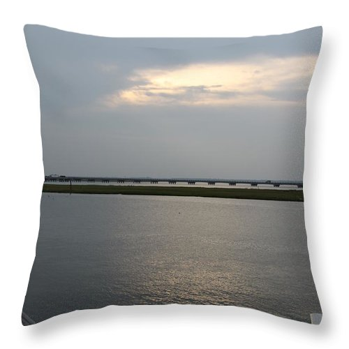 Chincoteague Sound Throw Pillow featuring the photograph Evening Light Over The Sound by Christiane Schulze Art And Photography