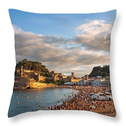 Beach Throw Pillow featuring the photograph Evening Over Tossa De Mar by Gurgen Bakhshetsyan