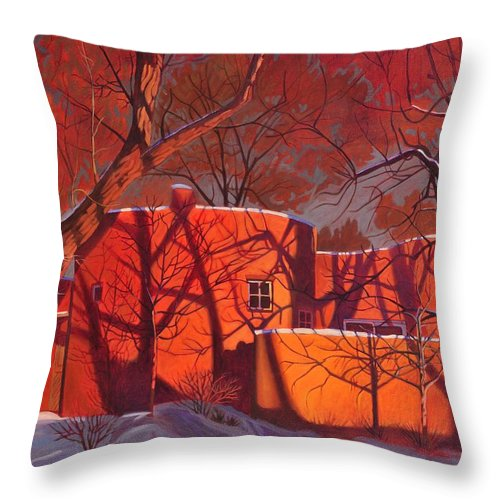 Taos Throw Pillow featuring the painting Evening Shadows On A Round Taos House by Art West