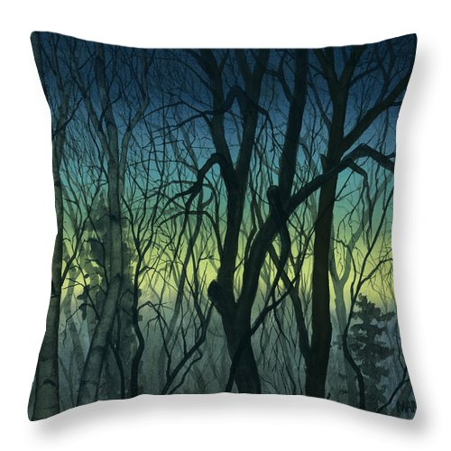 Blue Throw Pillow featuring the painting Evening Stand by Mary Tuomi