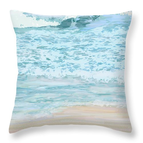 Ocean Throw Pillow featuring the digital art Evening Surf by Ian MacDonald