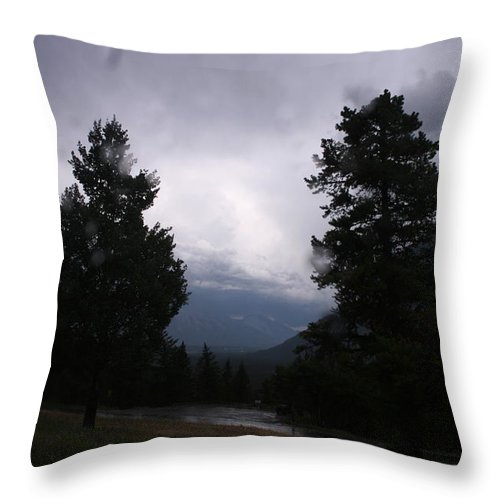 Tunnel Mountain Campsite Throw Pillow featuring the photograph Evening Thunder Storm by Betty-Anne McDonald