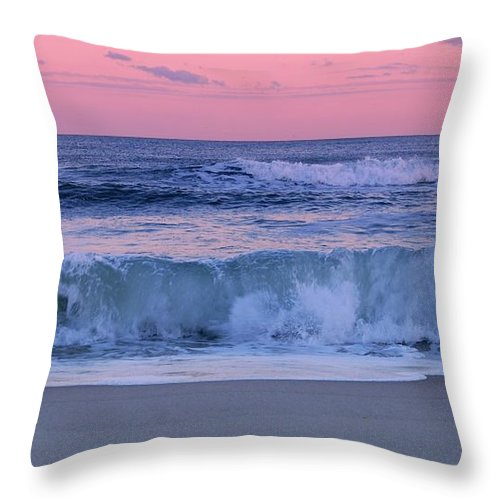 Jersey Shore Throw Pillow featuring the photograph Evening Waves - Jersey Shore by Angie Tirado