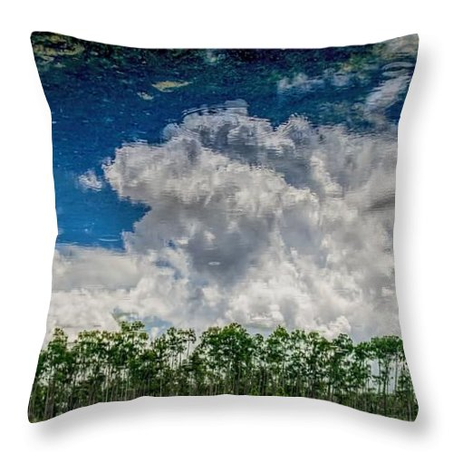 Cloud Throw Pillow featuring the photograph Reflected Everglades 0203 by Rudy Umans