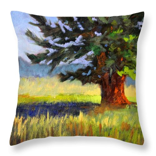 Oregon Throw Pillow featuring the painting Evergreen by Nancy Merkle