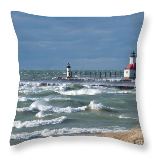 Whitecaps Throw Pillow featuring the photograph Everywhere Whitecaps by Ann Horn
