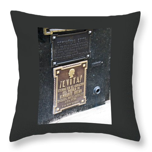 Travel Throw Pillow featuring the photograph Evita Burial Vault by Jay Milo