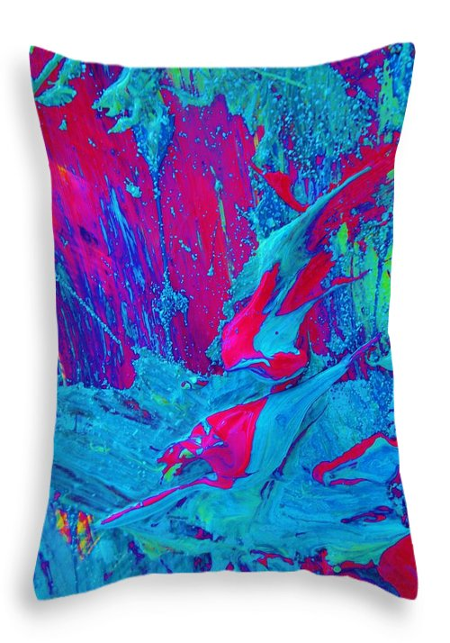 Original Throw Pillow featuring the painting Evolution Mas In Review by Artist Ai