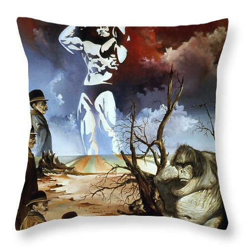 Surrealism Throw Pillow featuring the painting Evolution by Otto Rapp