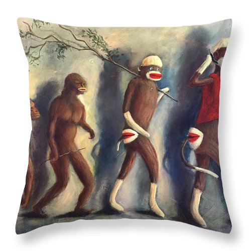 Evolution Throw Pillow featuring the painting Evolution by Randy Burns