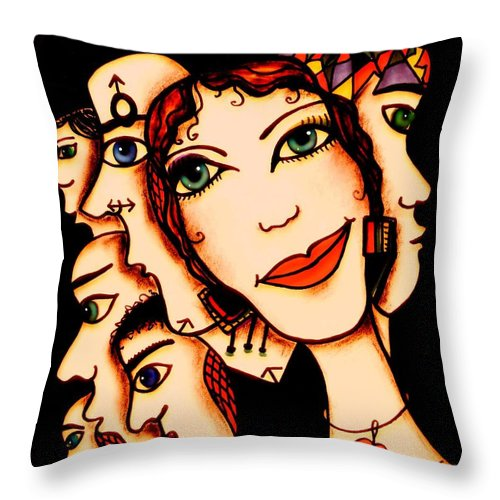 Woman Throw Pillow featuring the painting Ex-boyfriends by Natalie Holland
