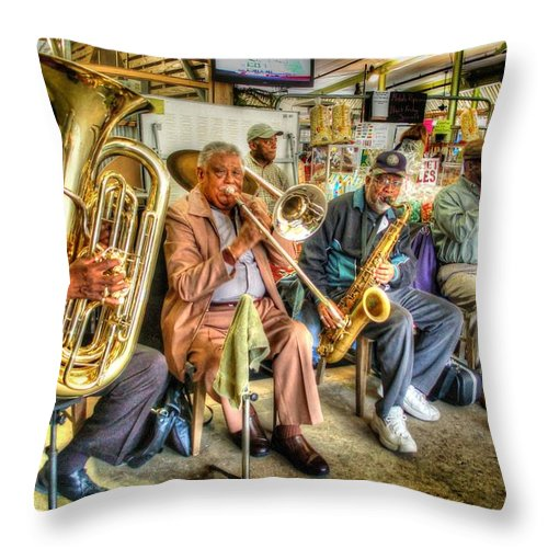 Mobile Throw Pillow featuring the digital art Excelsior Band 5 Piece by Michael Thomas