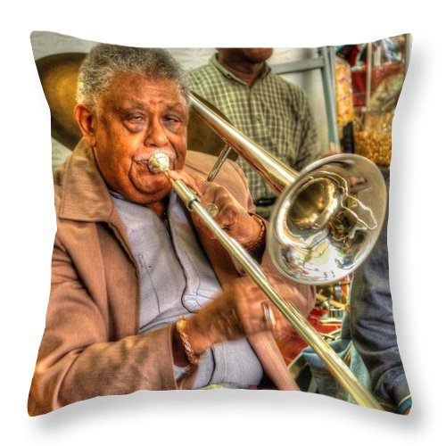 Mobile Throw Pillow featuring the digital art Excelsior Band Horn Player by Michael Thomas