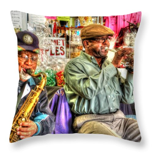 Alabama Throw Pillow featuring the digital art Excelsior Band Horn Players by Michael Thomas