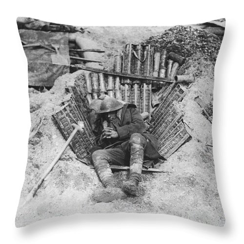 1910's Throw Pillow featuring the photograph Exhausted Wwi Soldier by Underwood Archives
