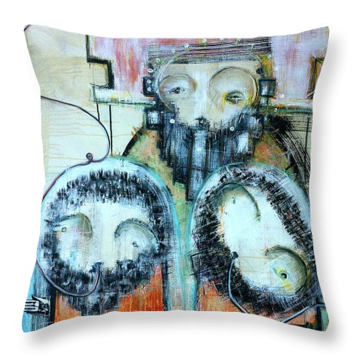 Mixed Media Throw Pillow featuring the painting Exile From The Shore Of Reason by Mark M Mellon
