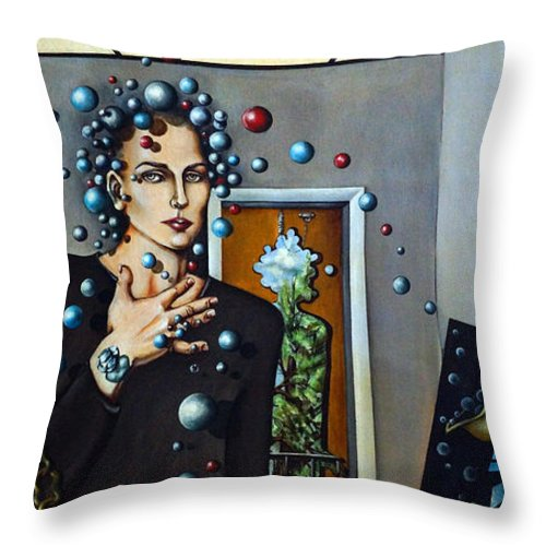 Surreal Throw Pillow featuring the painting Existential Thought by Valerie Vescovi