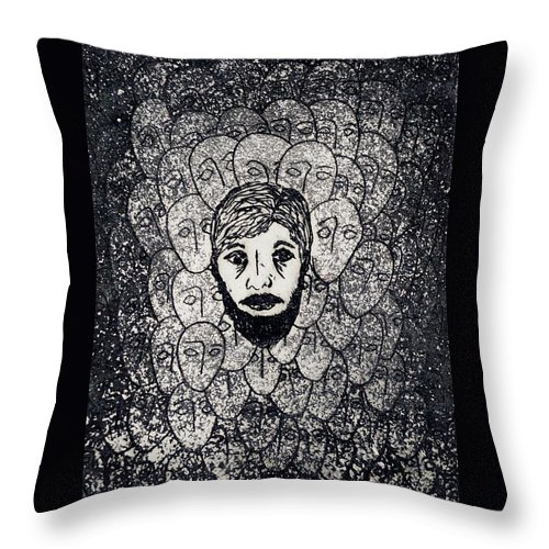 Faces Throw Pillow featuring the painting Existentialist by Erika Chamberlin