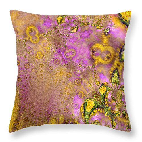 Fractal Throw Pillow featuring the painting Exodus by Miki De Goodaboom