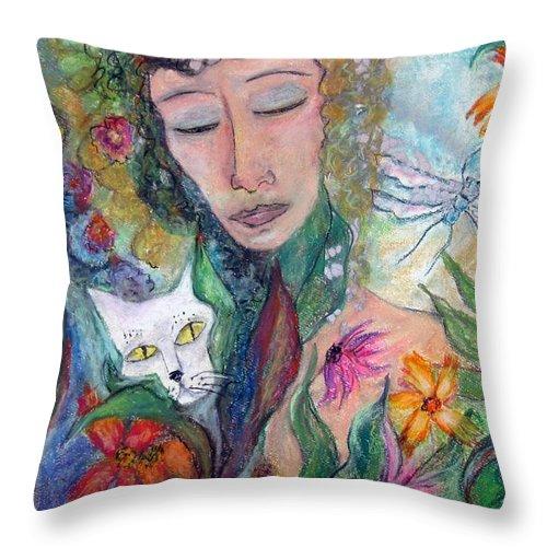 Garden Of Hidden Delights. Throw Pillow featuring the pastel Exotica by Sarah Wharton White